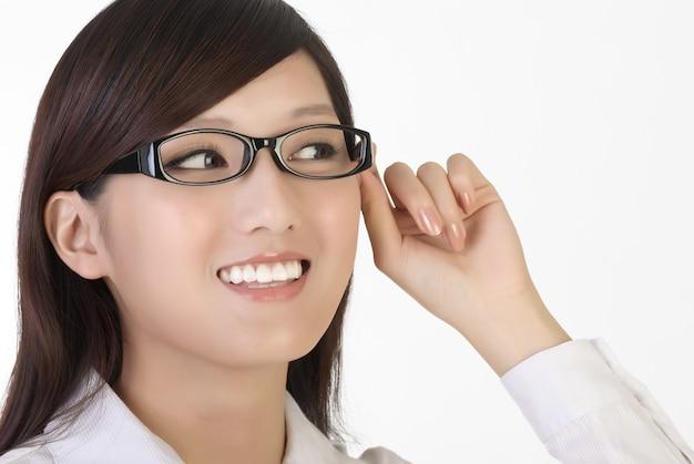 Smart businesswoman face, closeup portrait of oriental office lady