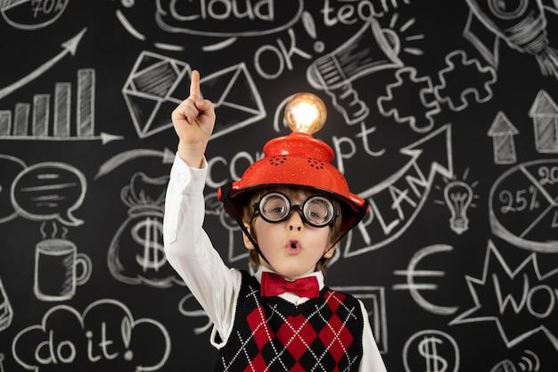 Smart child pretend to be businessmen