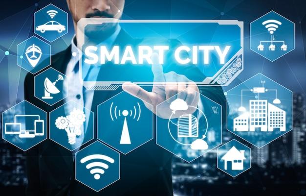 Умный город и концепция интернет-технологий.