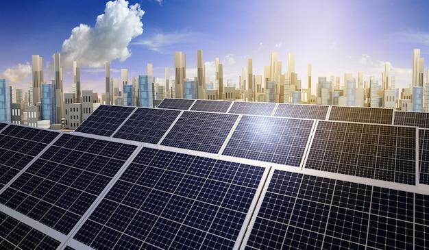 スマートシティと太陽エネルギーの持続可能な開発。代替電源、3dイラスト