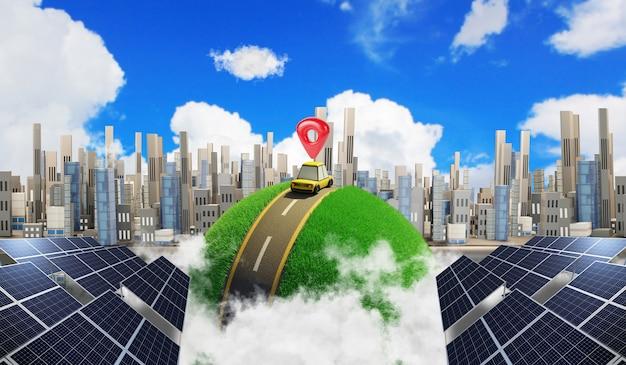 Умный город и устойчивое развитие солнечной энергетики. альтернативный источник электроэнергии, 3d иллюстрация