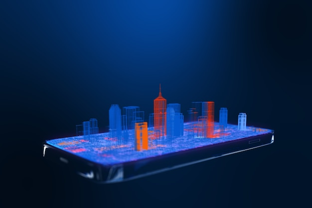 Smart city concept, blue orange city isometric view wireframe city buildings on cell phone.