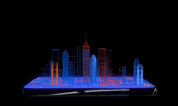 스마트 시티 개념, 휴대 전화에 블루 오렌지 도시 아이소 메트릭 뷰 와이어 프레임 도시 건물.