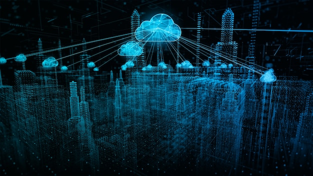 Smart city of cybersecurity digital data of futuristic and technology of cloud computing