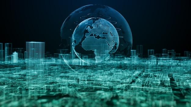Умный город, цифровое киберпространство с частицами и подключения к сети цифровых данных