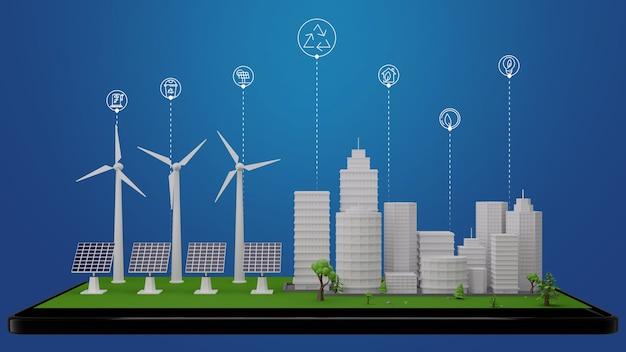 Умный город инновационной экологии, энергетической среды и концепции рециркуляции. с ветряными турбинами и солнечными батареями абстрактный фон 3d рендеринг
