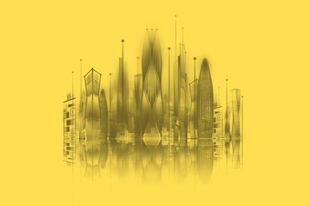 黄色の背景にスマートシティ、ビッグデータ伝送技術の概念。 3dレンダリング、3dイラスト。
