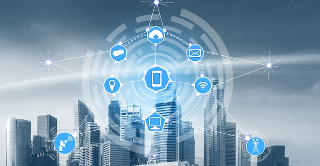 Smart city skyline with wireless communication network icons. concept of iot internet of things.