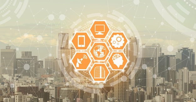 Smart city skyline with wireless communication network icons