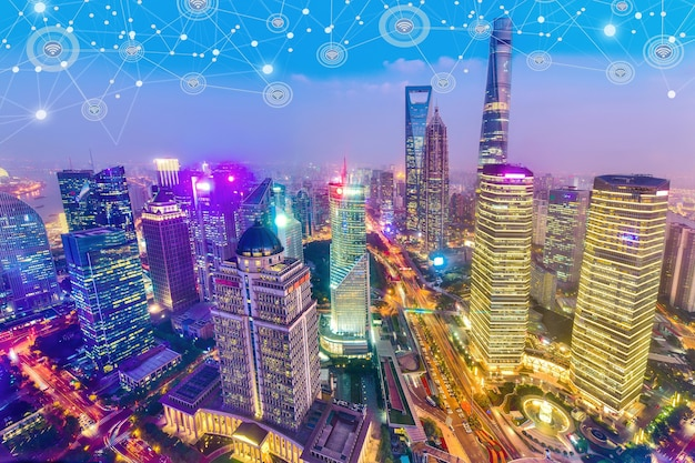 Smart city and wireless communication network on skyscrapers central business district in shanghai
