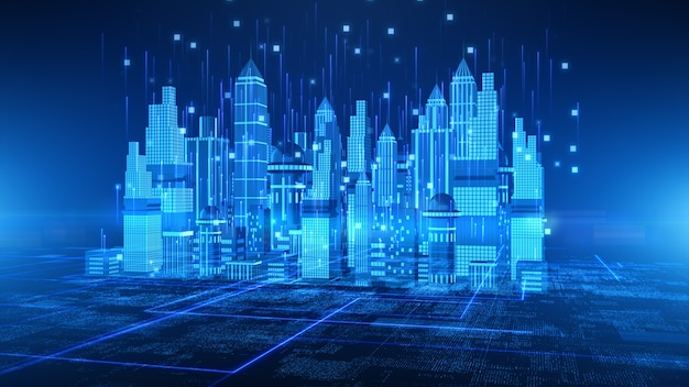 Smart city with technology 5g communication