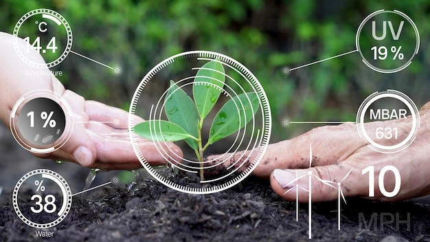 인공 지능에 의한 미래형 센서 데이터 수집 관리를 통한 스마트 디지털 농업 기술로 작물 성장 및 수확의 품질을 제어합니다. 컴퓨터 원조 농장 성장 개념.