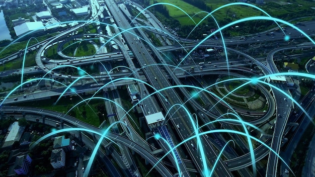 Smart digital city highway with globalization graphic of connection network