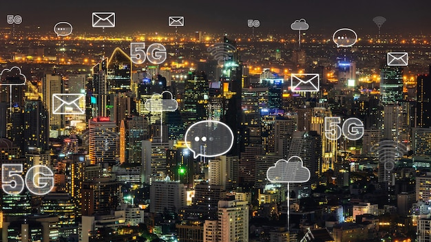 Smart digital city with abstract graphic showing connection network