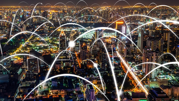 Smart digital city with globalization abstract graphic showing connection network