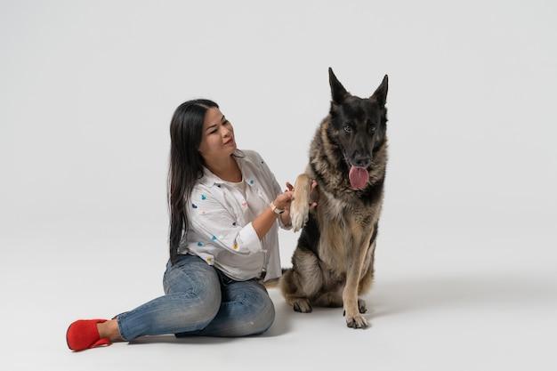 スマートドッグは飼い主に足を与えます。きれいな女性と東ヨーロッパの羊飼いが白で隔離