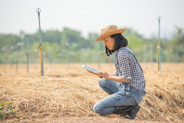 Smart farm. beautiful farmer use tablet to control her farm and business with happy and smile. business and agriculture concept. farmer or agronomist examine prepare a plot for growing vegetables.