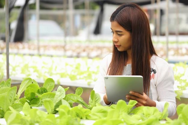 賢明な農家は、顧客のニーズに対応するために植物の成長を監視しています。