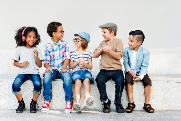 Smart fashionable cheerful chidren concept