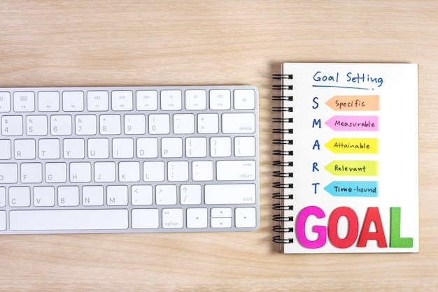 Smart goals setting written on the notebook