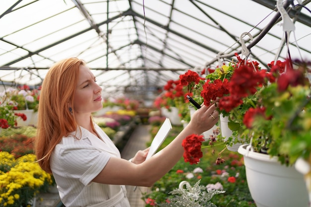 Smart greenhouse control. female worker inspects red flowers and note data at daylight