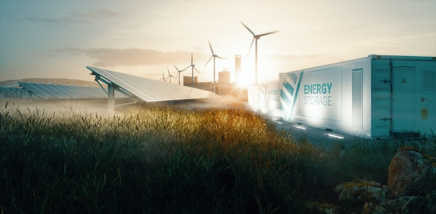 일몰 시 미래의 스마트 도시를 위한 스마트 그리드 재생 에너지 시스템 솔루션. 3d 렌더링