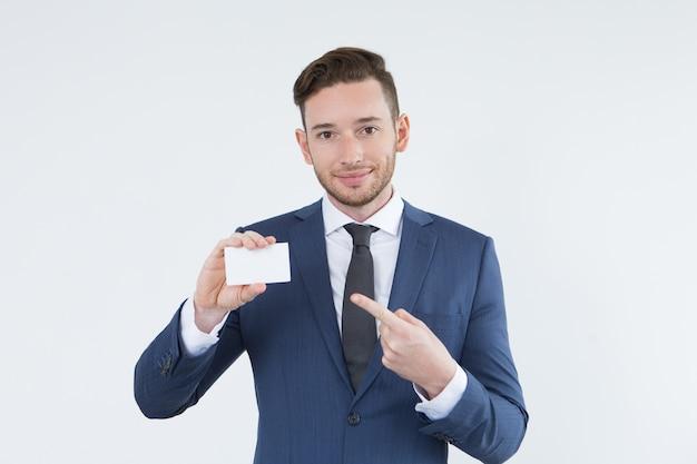 Smart handsome businessman giving recommendations