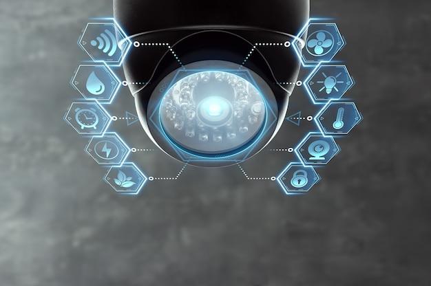천장 아래 스마트 홈 cctv 카메라.