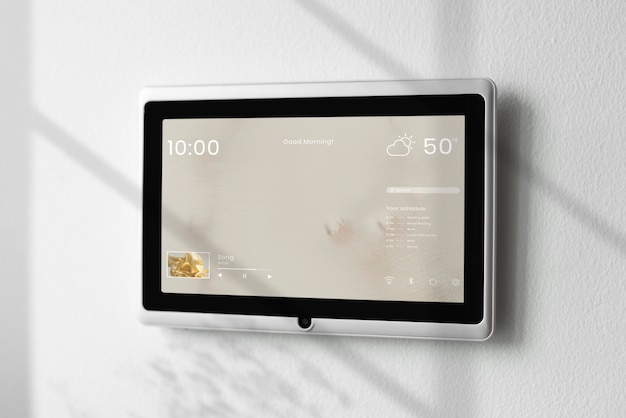 Smart home screen panel monitor on a wall