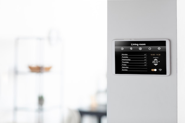 Smart home tablet on the wall