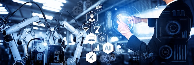 Smart industry robot arms for digital factory production technology
