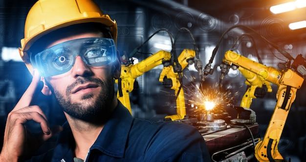 自動化製造プロセスを示すデジタル工場生産技術向けのスマート産業用ロボットアーム