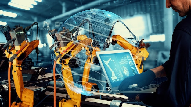 Smart industry robot arms modernization for digital factory technology
