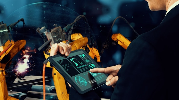 혁신적인 공장 기술을위한 스마트 산업용 로봇 암 현대화 프리미엄 사진