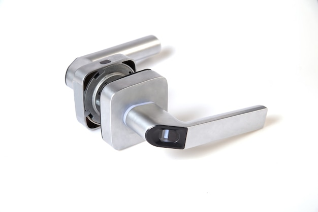 Smart keyless door lock with biometric fingerprint ,mechanical handle lock suitable for home, hotel, apartment, school and interior door isolated on white background.