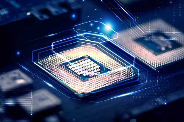 마더 보드 근접 촬영 기술 리믹스에 스마트 마이크로 칩 배경
