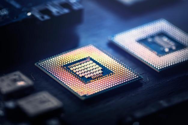 마더보드 근접 촬영 기술에 스마트 마이크로칩 배경