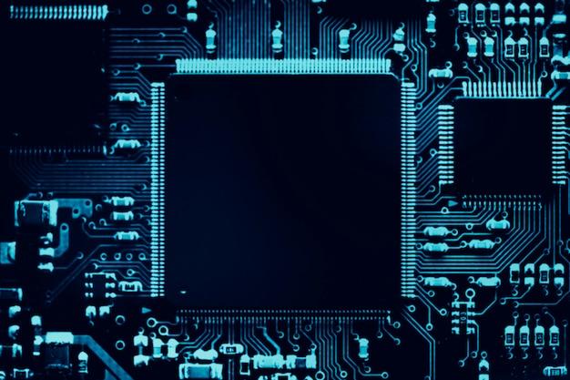 마더보드 근접 촬영 기술에 스마트 마이크로칩 배경 무료 사진
