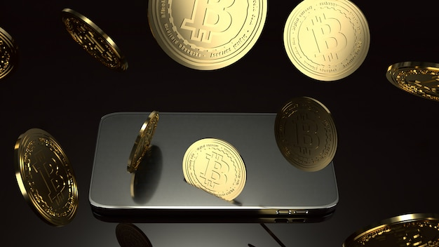 Smart phone and bitcoin 3d rendering for business concept.