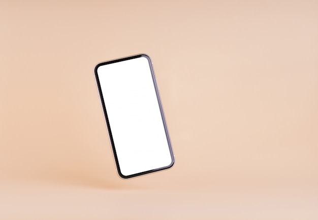 Smart phone blank screen on cream color wall
