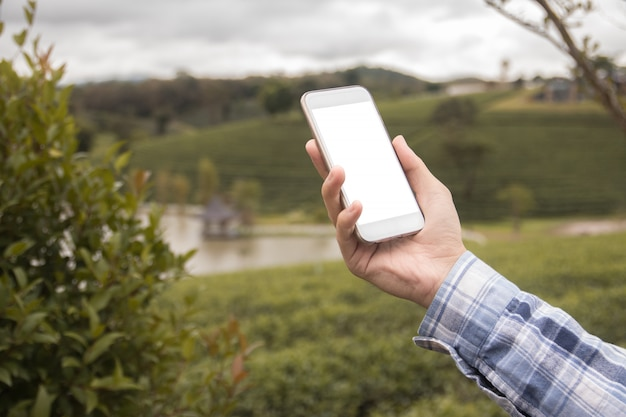 Smart phone mock up white screen on hand. nature background, business technology concept