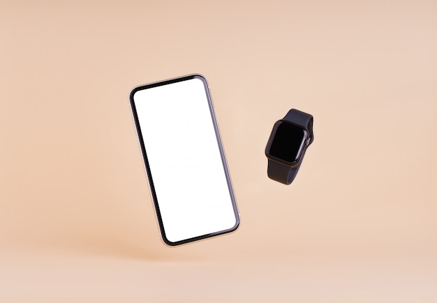 Smart phone and smart watch on cream color wall