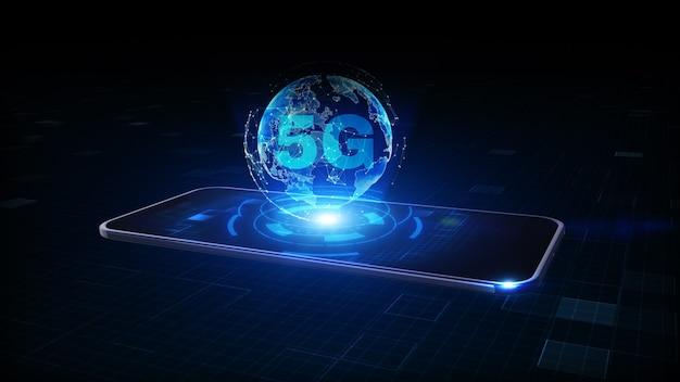 5g 심볼 홀로그램이있는 스마트 폰, 전세계 네트워크 연결