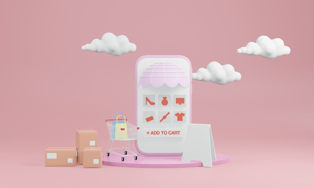 Smart phone with blank screen, boxes and a shopping cart with clouds in the back on pink background
