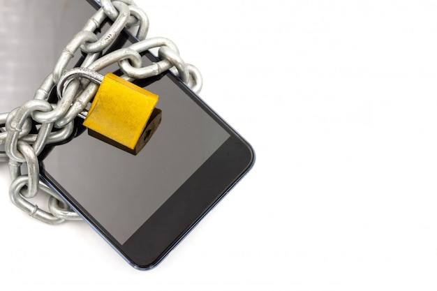 Smart phone with chain and padlock on white background. security concept