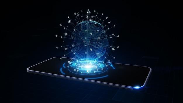 디지털 지구 글로브 홀로그램으로 스마트 전화. 네트워크 전세계 연결 개념. 3d 렌더링