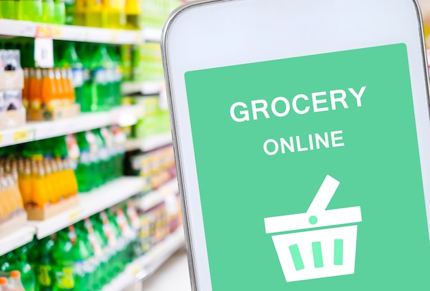 Smart phone with grocery shopping online on screen
