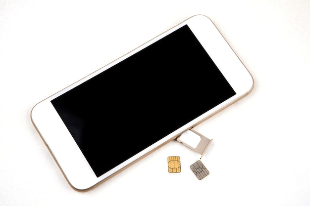 Smart phone with usim card on white