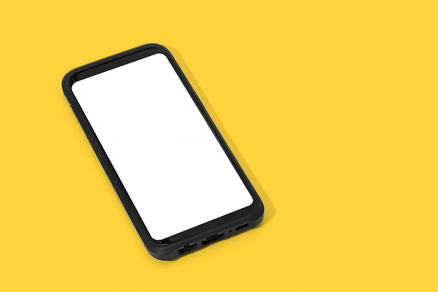 Смартфон с белым экраном, изолированные на желтом фоне. макет шаблона. копировать пространство