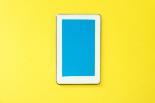 Smart phone in yellow background. smart show technology. it make life simple.